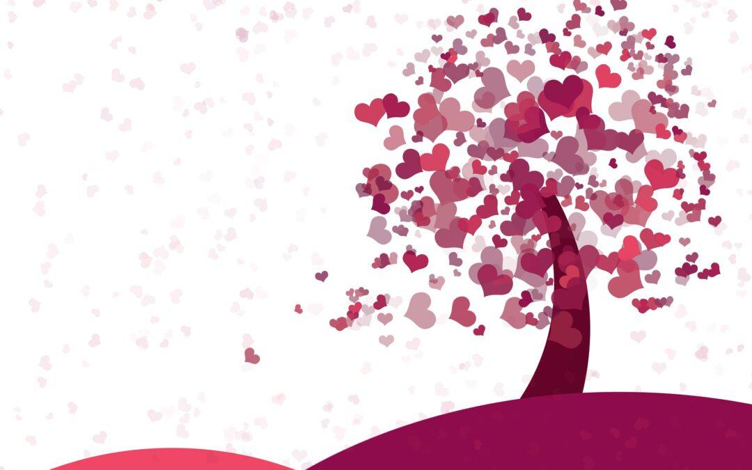 Grafik eines Baumes mit Herzen