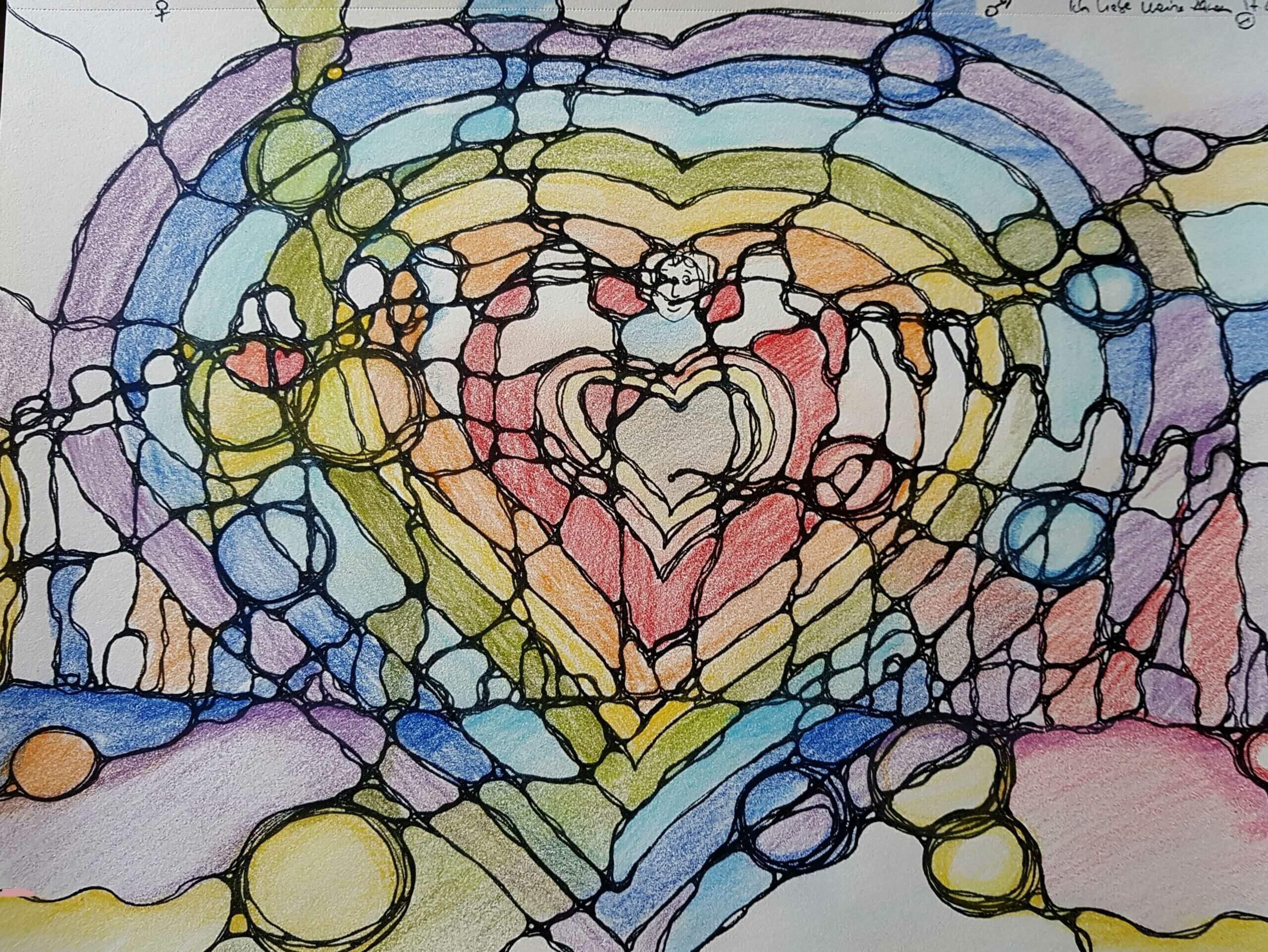 Neurographikbild mit Herz und Figuren