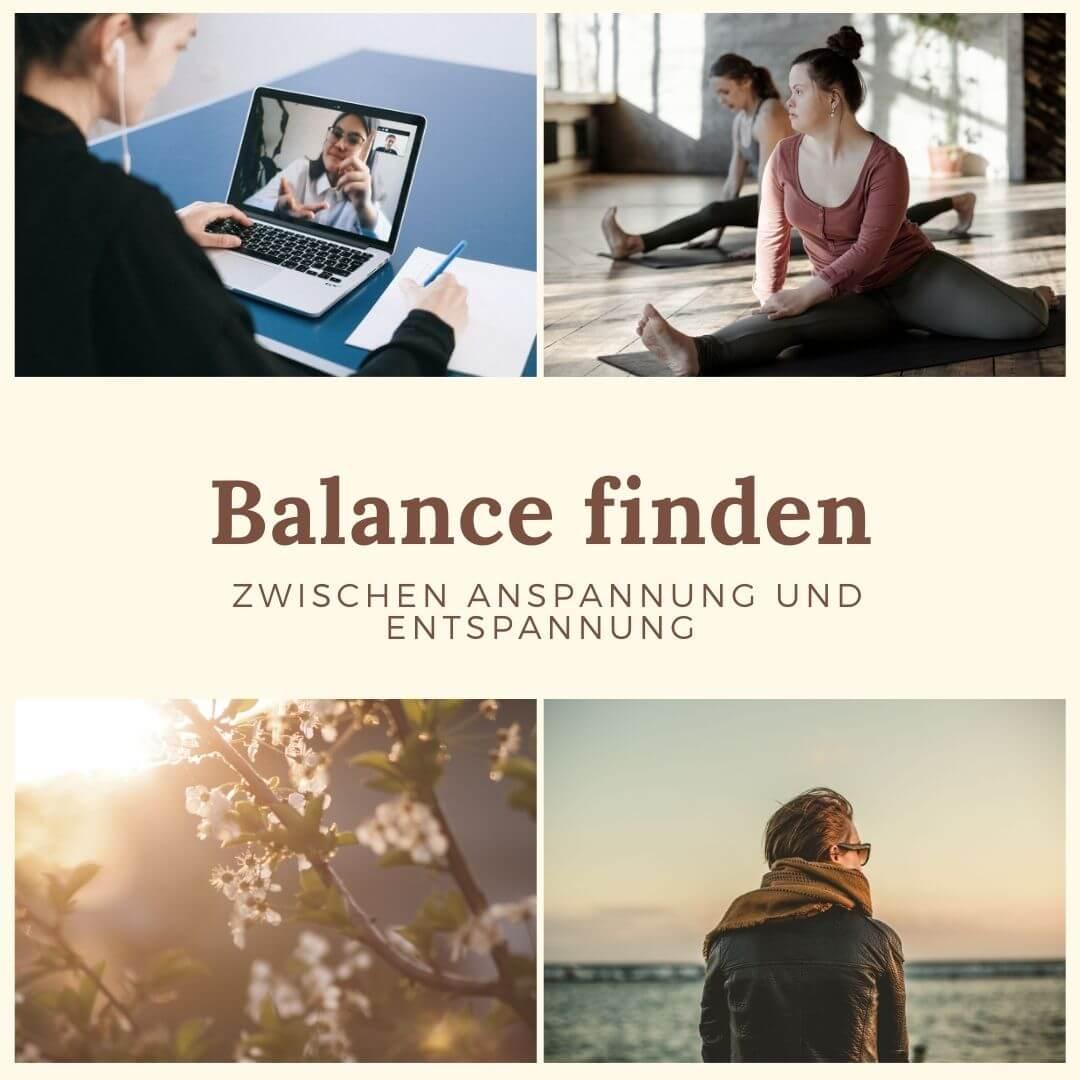 Collage zur Balance, Arbeit und Yoga oder Strand