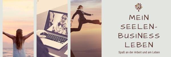 Collage zum Thema Seelenbusiness, mit Computer, springendem Mann und entspannter Frau