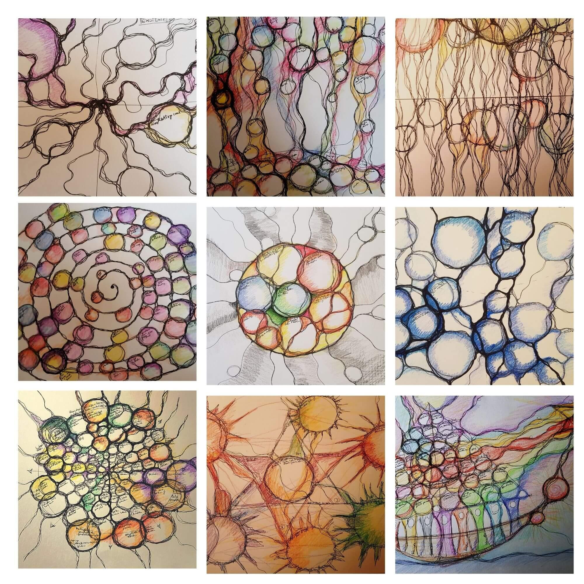 Collage verschiedener neurographischer Zeichnungen