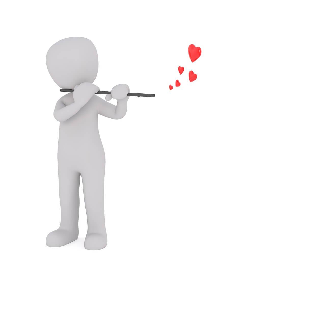 Figur Flöte spielend mit Herzen