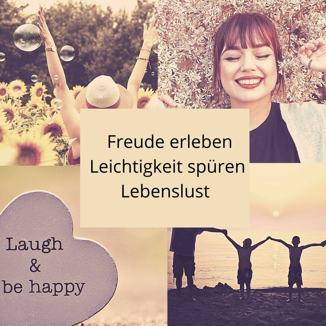 Collage zum Thema Freude, lächelnde Frau,