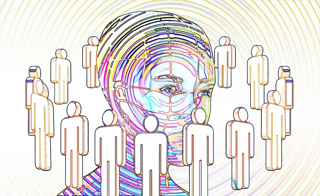 digitales Bild, Kopf mit Figuren drum herum
