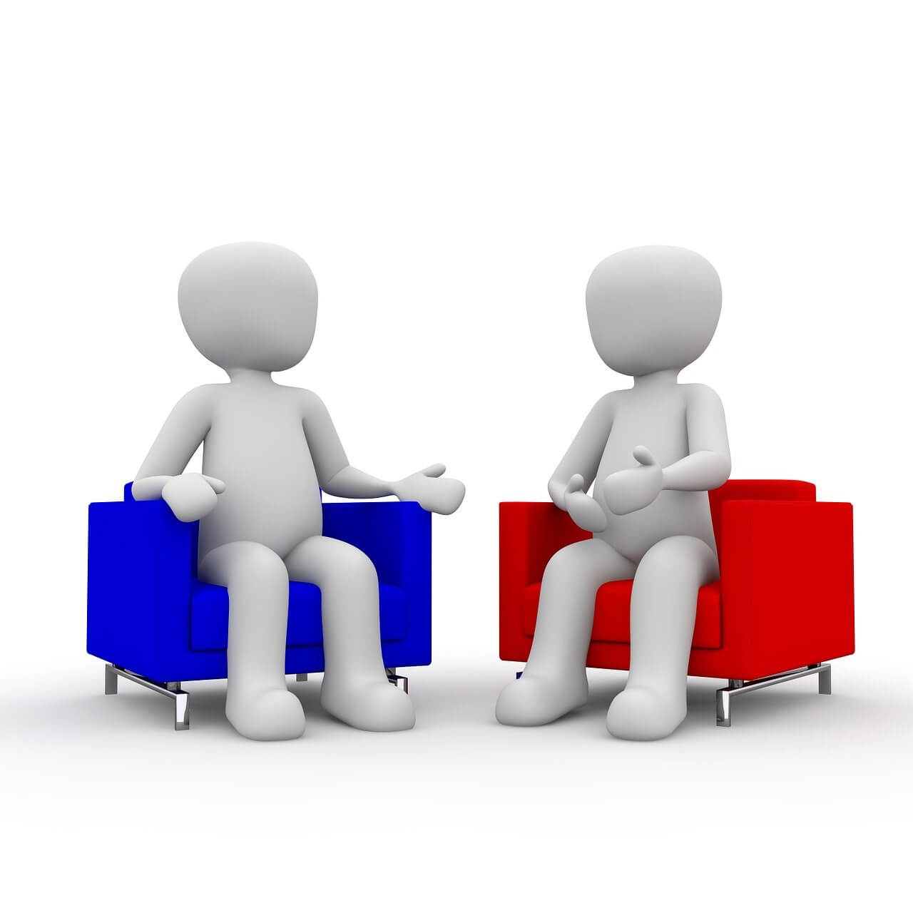 2 Figuren auf Sesseln sitzend
