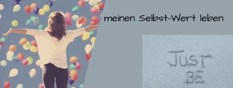 Collage mein Selbstwert, Frau mit Luftballons
