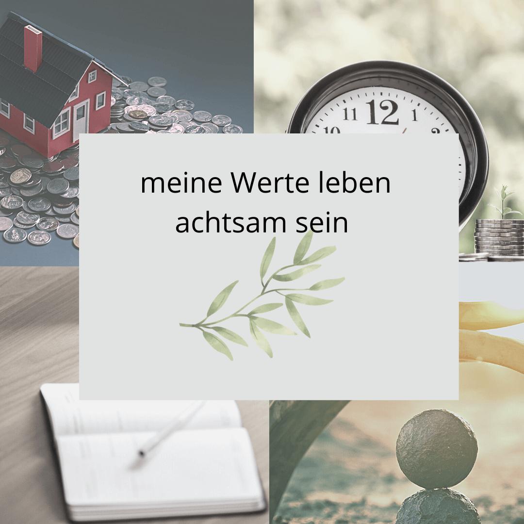 Collage, eigene Werte, mit Uhr, Buch, Natur